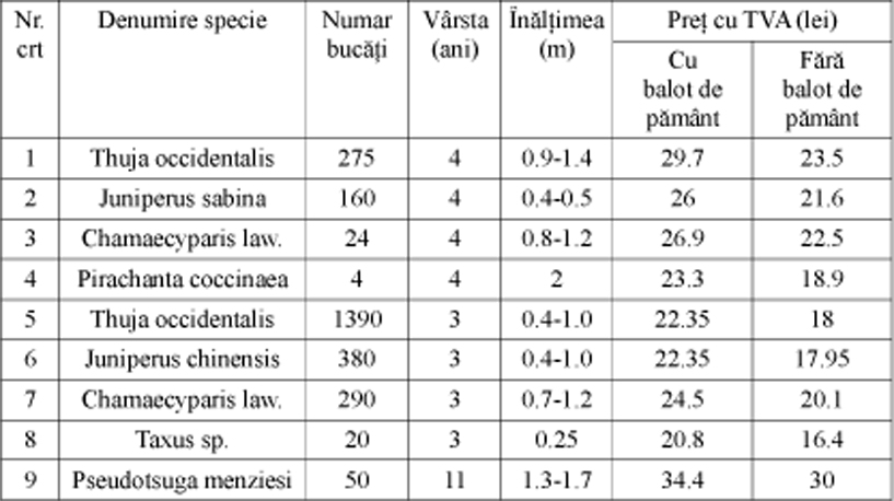 Anunt puieti ornamentali- Directia Silvica Slatina 2